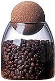 YJZQ - Barattolo in vetro per caramelle, contenitore trasparente con coperchio a sfera in legno, contenitore per la casa, per caffè, cereali, tè spezie, sale grande 550/750 ml