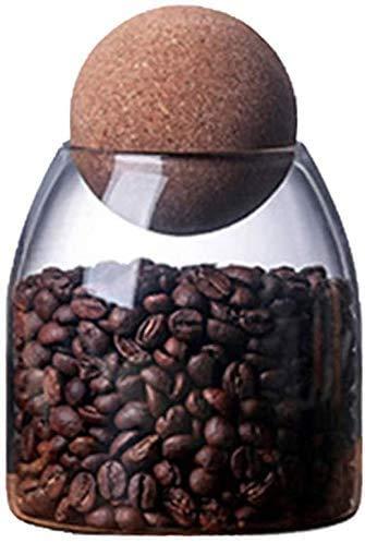 YJZQ - Tarro de cristal para caramelos de almacenamiento transparente con tapa de bola de madera para guardar café, cereales, té, especias de sal grande 550 / 750 ml