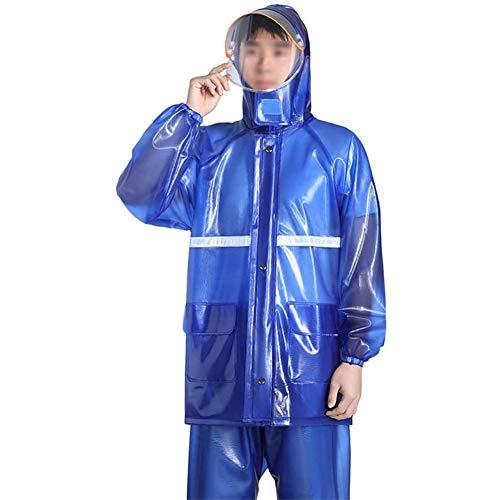 AWJK Raincoat et Pantalons de Pluie Costume Workwear Outdoor Hommes Transparent Big Brim pour éviter Saliva Éclabousser Camping Voyage Veste imperméable,Bleu,XXL