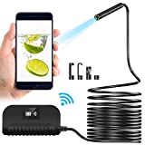 Crowndy Wireless Endoscope, Waterproof WiFi 5.5mm 1080P HD Borescope Inspection Camera for Android iOS Phones Tablet, 6 LEDs Industrial Endoscope Motor Engine Vehicle Pipe Snake Camera (16.5Ft)