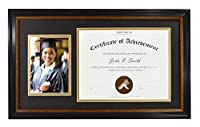 Golden State Art, for 8.5x11 Certificate & 5x7 Picture, Diploma Photo Frame, Color: Black with Burgundy & Gold Trim. Includes Black/Gold Double Mat and Real Glass [並行輸入品]