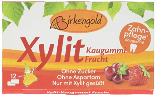 Birkengold Xylit Kaugummi Frucht, 8er Pack | Zahnpflege-Kaugummi | zuckerfrei | 70 % Xylit | vegan | ohne Titandioxid