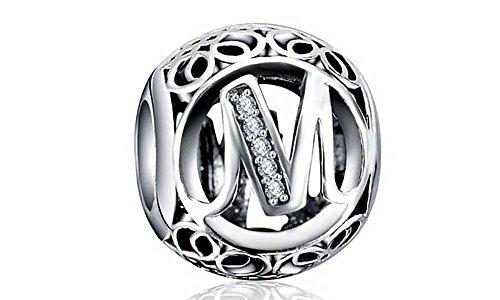Missy Jewels, Letras M Charms Plata de Ley 925 Estilo Vintage abecedario compatibles Pulseras Pandora, Missy, Swarovski, Chamilia, etc. (M)