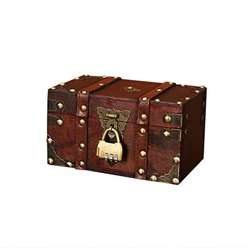 Seasaleshop Schatztruhe   Buchsafe Mit Zahlenschloss   Holztruhe Piratenkiste Geschenk Box   Aufbewahrungsbox Dekorative Schatzkiste Aus Leder   2 Größen