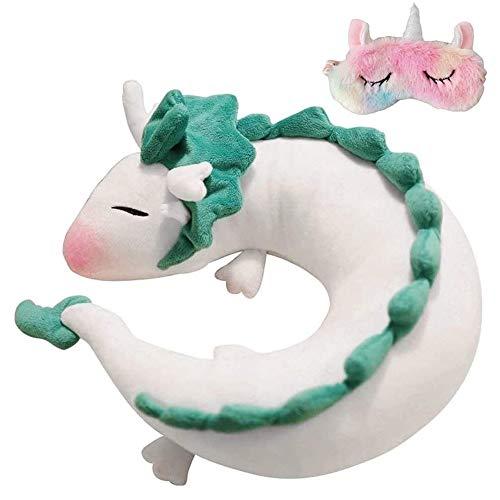 AIHANCH White Dragon Pillow Anime Cute Haku Dragon Neck Pillow Anime Plush Stuffed Dolls Kids Travel Pillows, Unicorn Sleeping Eye Mask Perfect for Chrismas Birthday Gift