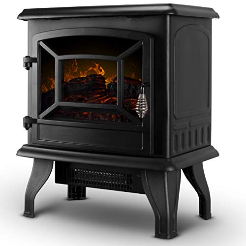 Della 17' Freestanding Portable Electric Fireplace Stove Infrared Quartz Realistic 3D Flames Firebox w/Logs Heater CSA Certified, 1400-Watts, Black