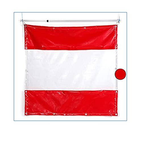 AMSXNOO Cortinas De Vinilo Al Aire Libre, Lavable Inoxidable Impermeable Panel Lateral, Cortina de Lona Transparente para Jardín Garaje Balcón Pérgola (Color : Red, Size : 3X2.5M)