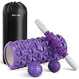 Glymnis Rodillo Masaje Muscular Foam Roller Masajes Muscular 4 en 1 con 1 Rodillo de Espuma 1 Palo de Masaje y 2 Bolas de Masaje para Relajar los músculos Reducir el Dolor del Cuerpo Violeta