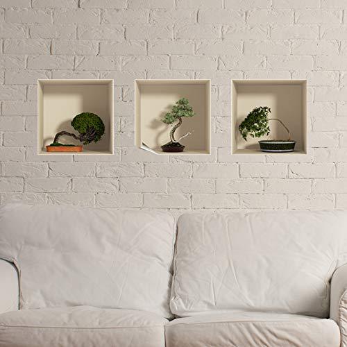 3D-effect sticker | Sticker Bonsai bomen in pot – wanddecoratie trompe oog slaapkamer en woonkamer – 3 stuks 30 x 30 cm