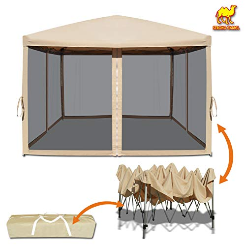 Strong Camel Easy Pop Up Canopy Tent 10-Feet x 10-Feet Gazebo with Mesh Side Walls Screen House (Ecru)