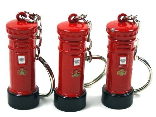 Post Box Keyring x 3 - London Red Pillar Box Mini 3D Model Key Holder Made of...