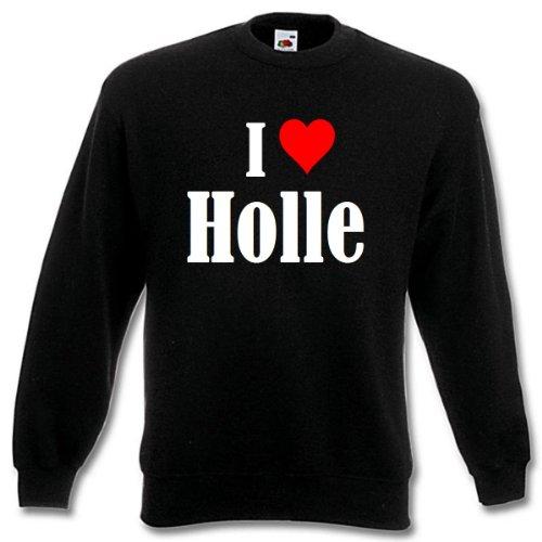 Reifen-Markt Sudadera I Love Holle para mujer, hombre y niños en los colores negro, blanco y azul con estampado Negro 08Mujer Medium