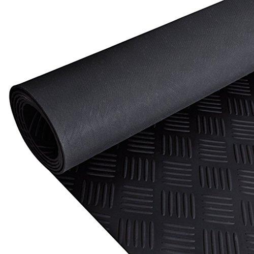 Festnight Gummi Bodenmatte Bodenschutzmatte Gummimatte Antirutschmatte 5x1 m Riffelblech Stil Schwarz