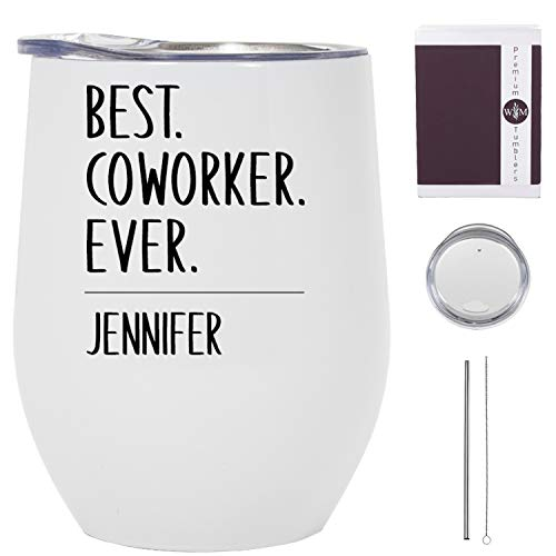 Best Coworker Ever Wine Tumbler - 12 oz Stainless Steel Tumbler With Lid - Coworker Tumbler for Women - Coworker Travel Mugs & Tumblers - Coworker Leaving Tumbler - Coworker Wine Glasses - USA Made