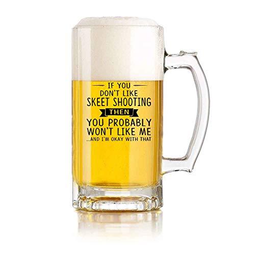 Jarra de cerveza de vidrio para restaurante, jarra de cerveza para juegos de pelota, amantes del tiro al plato si no te gusta el tiro al plato