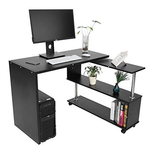 Cocoarm Eckschreibtisch Computertisch Winkelschreibtisch Schreibtisch Bürotisch mit Regal, 100 x 48 x 75 cm, 2 Farben, Schwarz, Weiß (Schwarz)