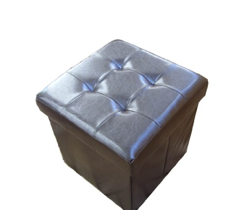 Dunkelbraune gepolsterte Sitzkiste, Sitzhocker, Zauber-Hocker Sitzwürfel Aufbewahrungsbox, Fußbank 33 x 33 x 33 cm