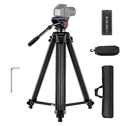 Andoer Video Tripod-67 Inch Professional Video Trideo System with Fluid Hydraulic Head Spare Quick Release Plate Max Load 22LB