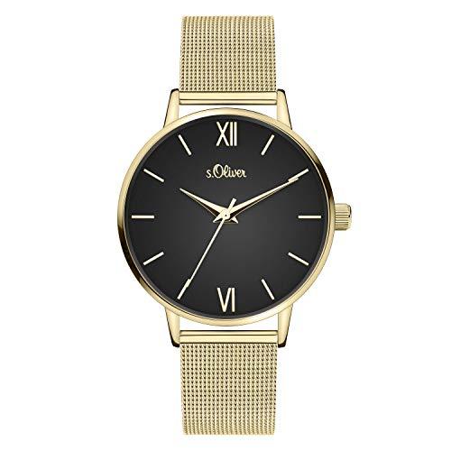 s.Oliver Damen Analog quarz Armbanduhr mit Edelstahl SO-4137-MQ