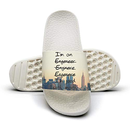 Im a Engineer Good with Mathwhite Mens Best Slipper Foam Open Toe Flat Sports Slide Sandal