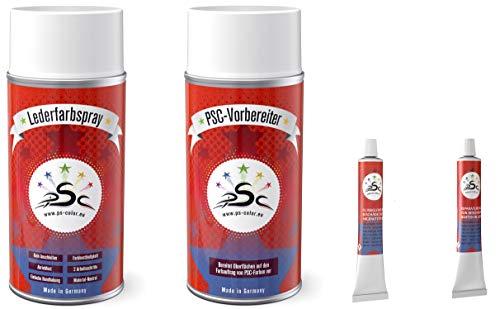 Set 4-150: Lederfarbe Lichtblau RAL 5012 & Leder-Reiniger 150ml Spray & Flüssigleder & Lederspachtel 8gr Tube zum färben und Restaurieren von Ledersitzen, Lederschuhen & Anderen Lederartikeln