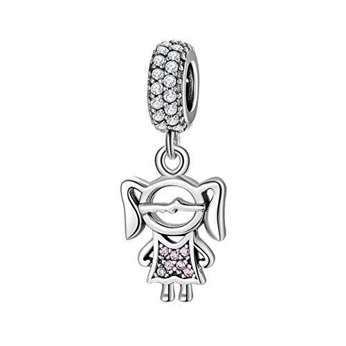 Boy OR Girl Dangle 925 Sterling Silver Child Charm Beads for 3mm Pandora Style Charms Bracelet & Necklace (Happy Little Girl)
