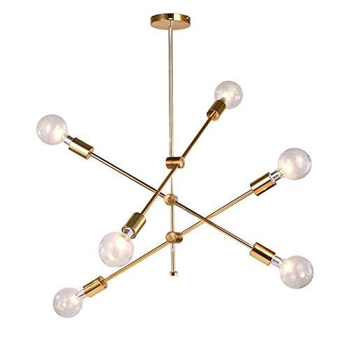 Lámpara colgante Sputnik de 6 luces, luz creativa, candelabros Starburst, lámpara colgante LED para comedor, casa, hogar, cocina, isla, entrada