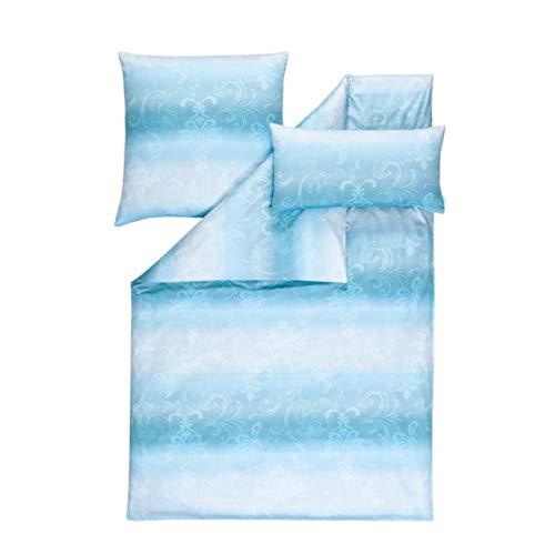 Estella Lydia Parure de lit en Satin de Coton mako Bleu Marine 135 x 200 cm