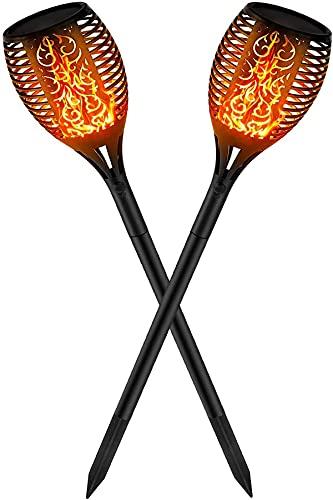 Kefflum 2x Solar Flammenlicht Solar Gartenleuchten 96 Led Solarlampe Garten fackeln IP65 für Garten Beleuchtung mit realistischen Flammen Automatische EIN/Aus Außen warmlicht [Energieklasse A++]
