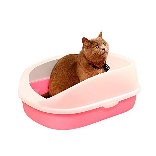 YAzNdom kattentoilet bruidskattenbakje huisdier kattentoilet box panring schepje Lu vracht creening kattentoilet met deksel, 22*34*13.5cm, roze
