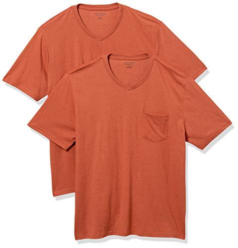 Amazon Essentials Herren T-Shirt, lockere Passform, V-Ausschnitt, Brusttasche, 2er-Pack, Orange (Orange Heather Ora), US M (EU M)