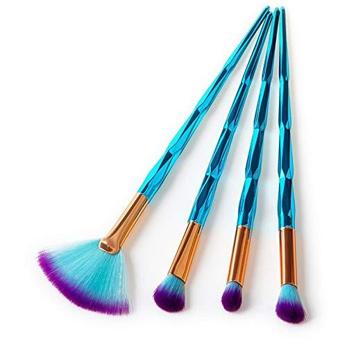 LSWL Maquillage diamant professionnelle Pinceaux Fondation Blending Ombres à paupières Contour fard à joues brosse cosmétiques Beauté maquillage Outils (Color : 4pcs)