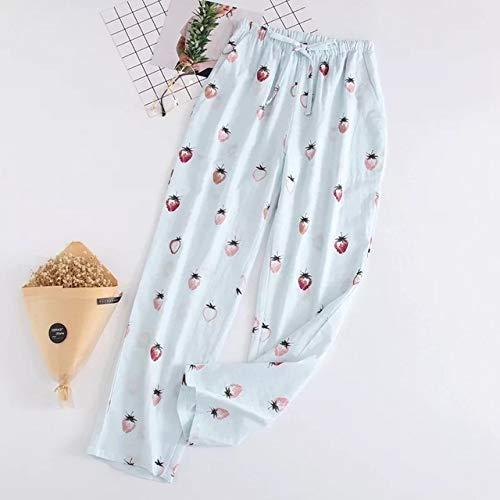Handaxian Damen Schlafanzughose 100% Gaze Baumwolle Blumendruck Gitter Gestreifte Schlafanzughose Erdbeerblau M