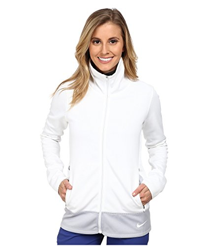 NIKE Thermal Jacket - Camiseta de Manga Larga para Mujer, Color Blanco/Gris, Talla XS