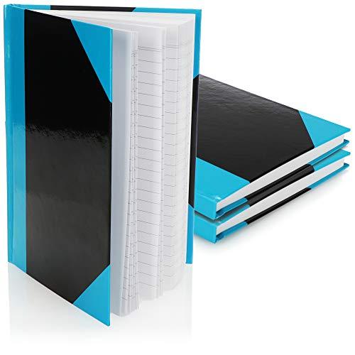 com-four® 3X Notizbuch A5 liniert - Tagebuch - Notizblock in rot-schwarz mit Hardcover - Notizheft - Kladde, Bullet Journal Buch - Ideenbuch 96 Blatt