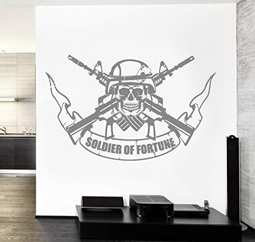 wZUN Destiny Soldier calcomanía Cool Skull Army Rifle Vinilo Pegatina niños Dormitorio Sala de Juegos decoración del hogar 68X42cm