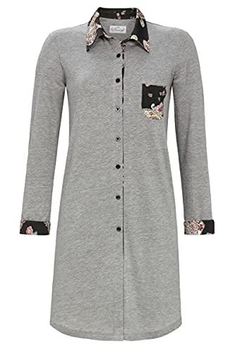 Ringella Bloomy Damen Nachthemd mit Durchgehender Knopfleiste grau-Melange 46 1551005,grau-Melange, 46