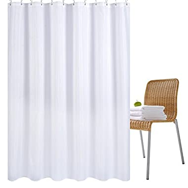 Wimaha Water-Repellent Fabric Shower Curtain Liner Mildew-Resistant Machine Washable Bathroom Shower Curtains Anti-Bacterial Polyester Shower Liner for Shower Stall, Bathtubs, 72 x 72 White