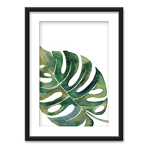 wall26 - Framed Wall Art - Tropical Plant Leaf - Black Picture Frames White Matting - 23x31 inches