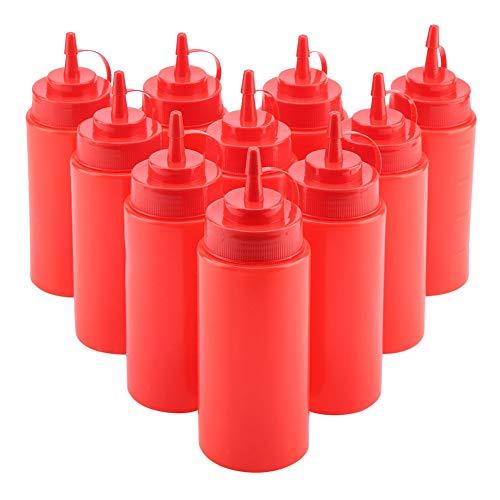 460 ml plastic squeeze fles kruiden dispenser tomatensaus saladedressing mosterd veilig ketchup hoeveelheden opslag flessen (10-delig/set) rood