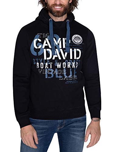 Camp David Herren Hoodie mit großen Label-Applikationen