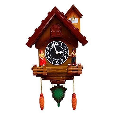 Relojes de Cuco Cuco reloj cuco reloj de pared voces o cuco llamada reloj péndulo pájaro casa pared arte hogar sala de estar cocina oficina decoración de oficina ( Color : Marrón , Size : 20 inches )