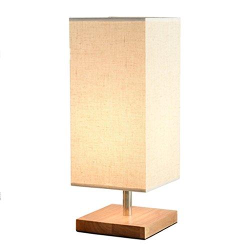 Houten tafellamp retro massief houten en stoffen kap ontspannend bedlampje voor slaapkamer woonkamer studio café babykamer studentenhuis (rechthoekig) A+