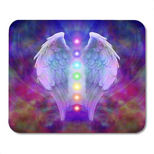 Emvency Mouse Pads Reiki Angel Wings and Seven Chakras on Colorful Soul Healing Divine Mousepad 9.5' x 7.9' for Laptop,Desktop Computers Accessories Mini Office Supplies Mouse Mats