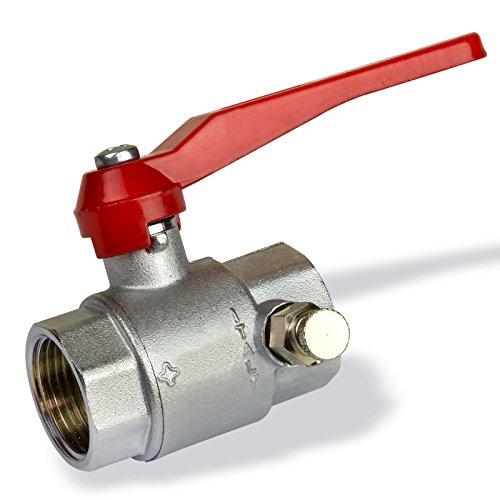 Stabilo-Sanitaer Kugelhahn 1 1/2 Zoll DN40 mit Entleerung für Wasser Messing Kugelventil Absperrventil Heizung Absperrhahn Entlüftung