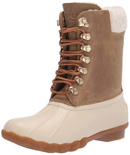 Sperry womens Saltwater Tall Leather Cozy Rain Boot, Birch, 8.5 US