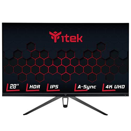 Itek, Monitor GGF Gaming - 28 Flat, 4K UHD 3840x2160, IPS, 60Hz, 16:9, 5ms G2G, 2xHDMI, DP, USB, Speaker, HDR, Adaptive Sync, (ITMF28I065UHD), Negro