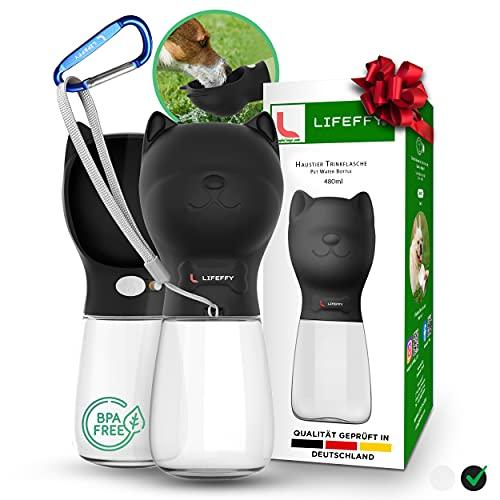 LIFEFFY® Premium 480 ML Hundetrinkflasche für unterwegs – Tragbare Haustier Wasserflasche + Karabiner – Ø 9 cm Große Trinkschale – Ideal Hunde Geschenk – BPA Frei & Auslaufsicher