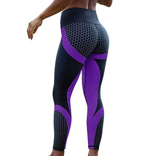 Yying Pantaloni da Yoga Donna Strisce a Vita Alta Leggings Stretch Push Up Leggings Sportivi Compressione Controllo della Pancia Abbigliamento Sportivo