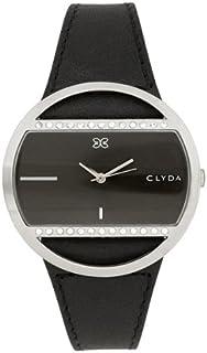 Clyda–A0322GNIN Montre de Poignet, Bracelet en Cuir Noir